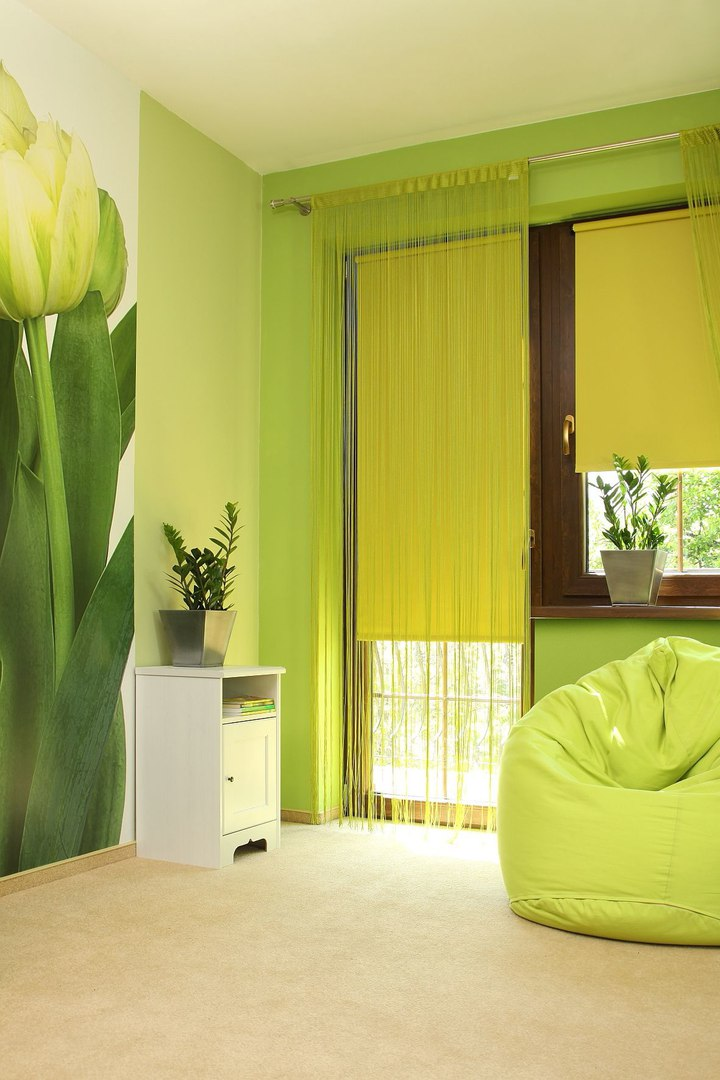 жалюзи салатового цвета на окне фото